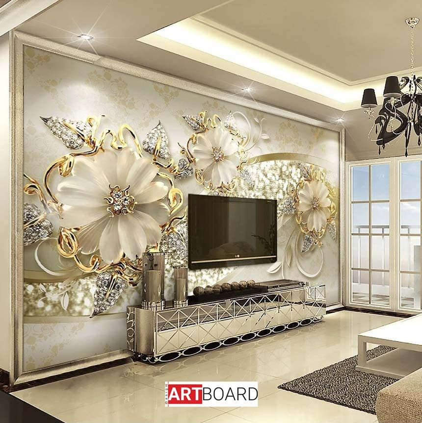Large 3d European Pearl And Rose Jewelry Tv Background: کاغذ دیواری سه بعدی