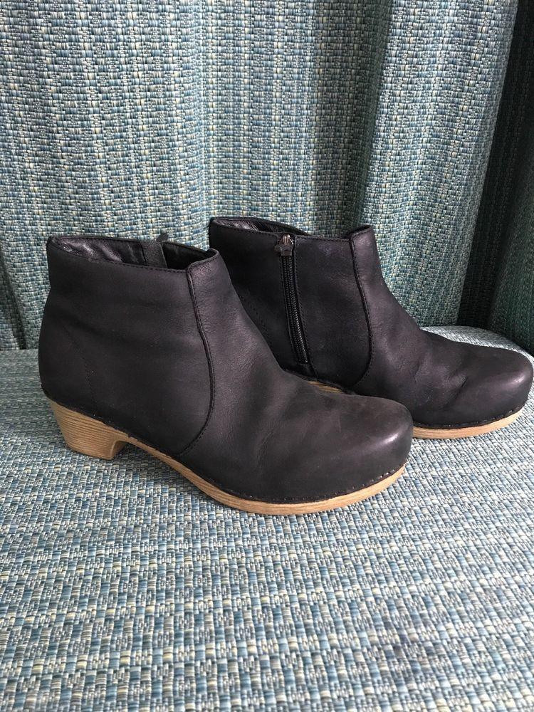 7ed9de15c7d Dansko womens 9 5 10 40 maria black suede zip heels ankle boots msrp ...