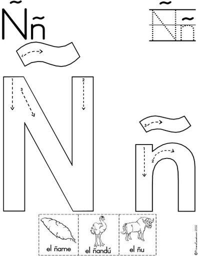 letra ñ fichas del abecedario y el alfabeto para descargar gratis ...