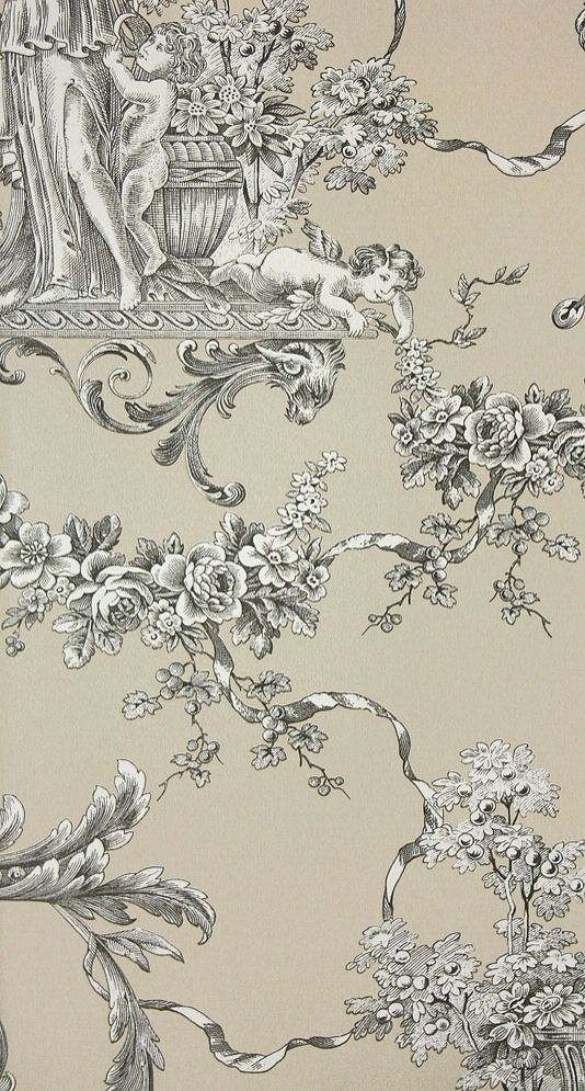 Charcoal Taupe Toile De Jouy Wallpaper Thibaut Toile Wallpaper French Wallpaper Toile Pattern