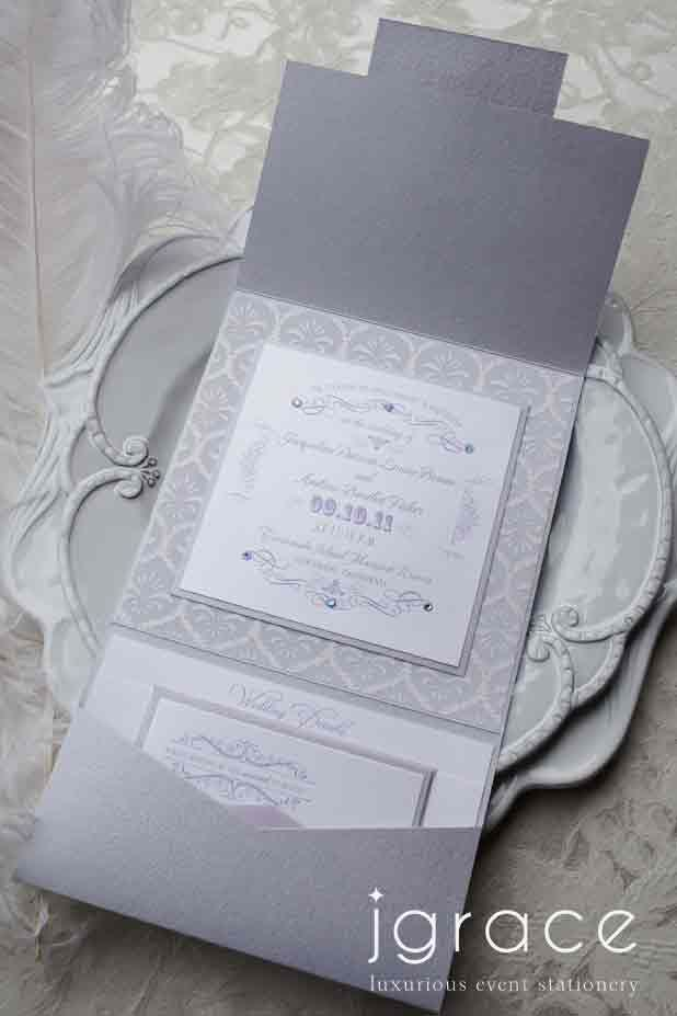 luxurious lilac and white vintage wedding invitation suite by j ...