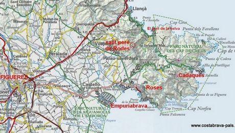 Carte Espagne Costa Brava Blanes.Carte Costa Brava Nord Espagne Autour De La Baie De Rosas