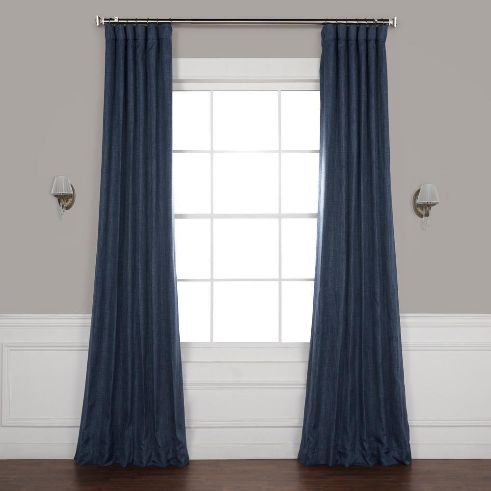 Exclusive Fabrics Furnishings Indigo Blue Faux Linen Blackout