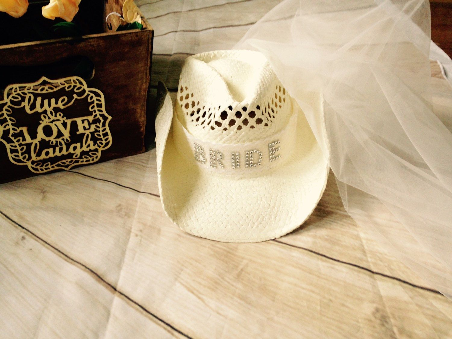 Bachelorette Cowgirl Hat With Veil Bride Hat Cowboy Etsy Bachelorette Veil Bride Hat Cowgirl Hats