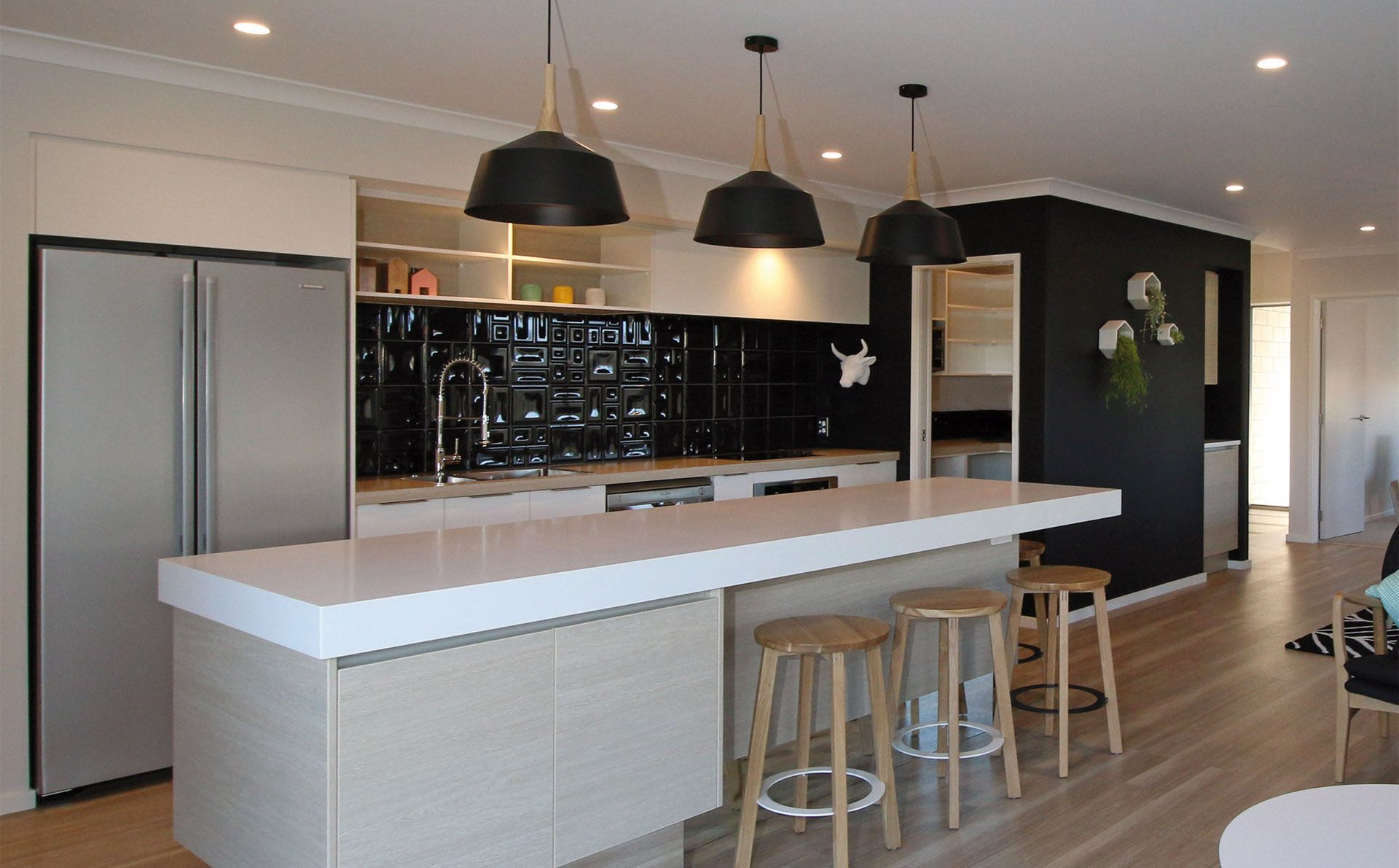 Modern mix in this showhome kitchen papamoa east gj gardner homes
