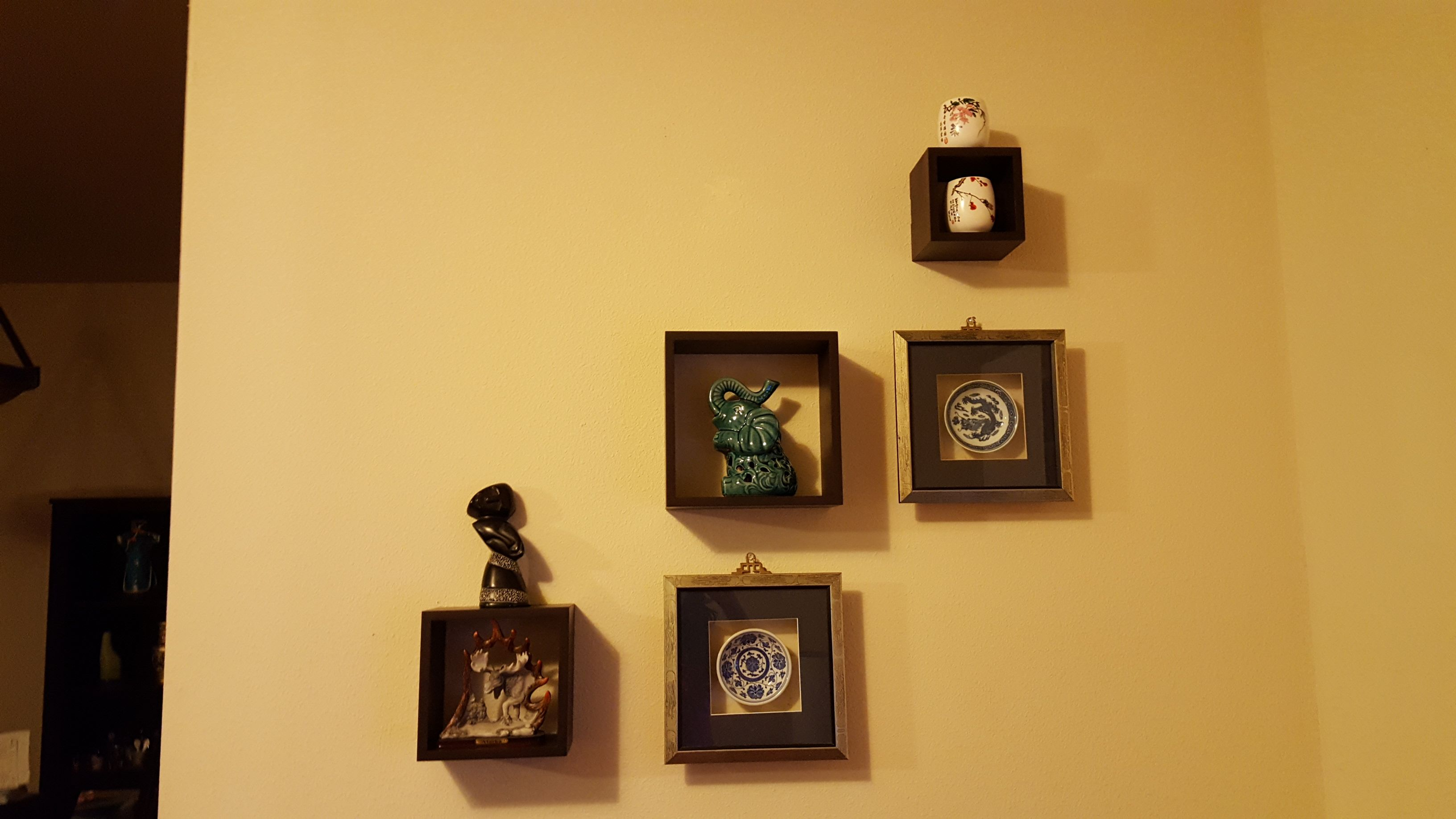 wall decor using square cubes and show pieces | wall decor ...