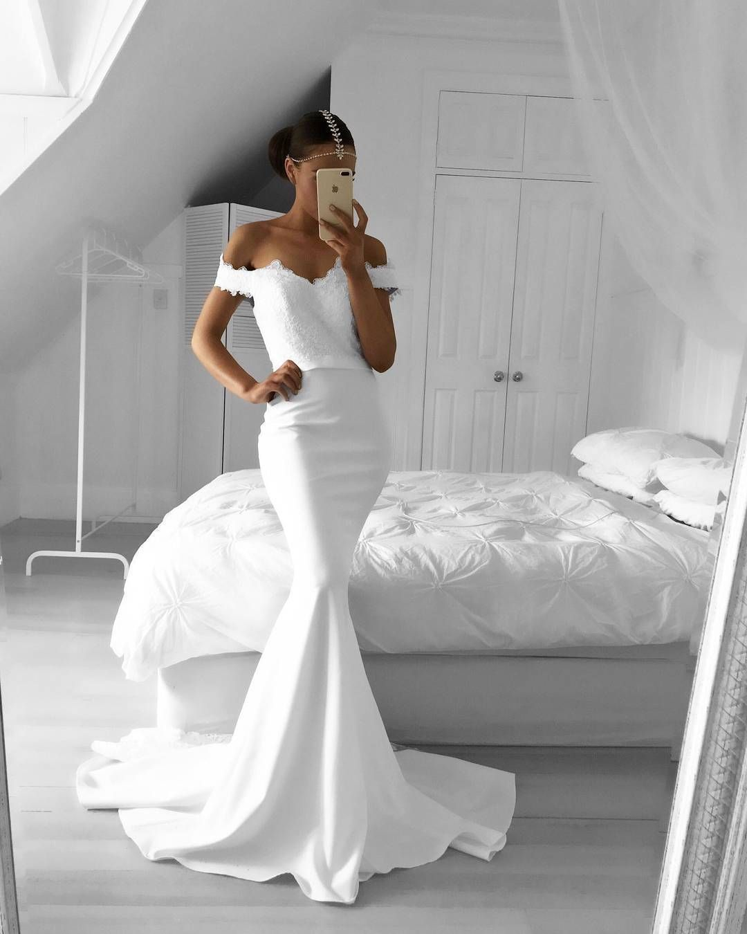 White lace appliques off the shoulder mermaid wedding gowns