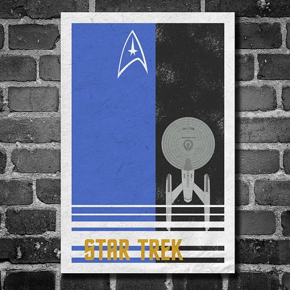 Star Trek retro poster minimalist art movie poster print art poster print 11x17 Blue