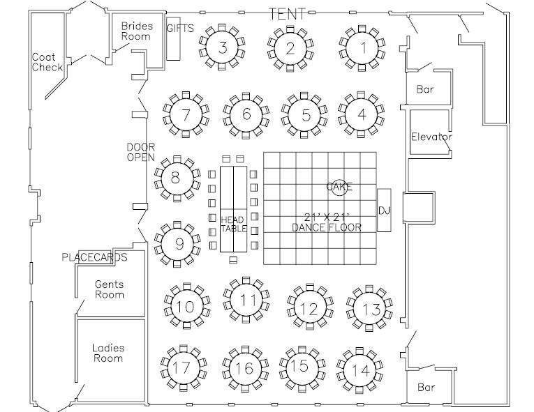 Interesting Ballroom Layout With Head Table Keep The Bride And Groom In The Middle Of It All Wedding Reception Layout Wedding Table Layouts Wedding Floor Plan