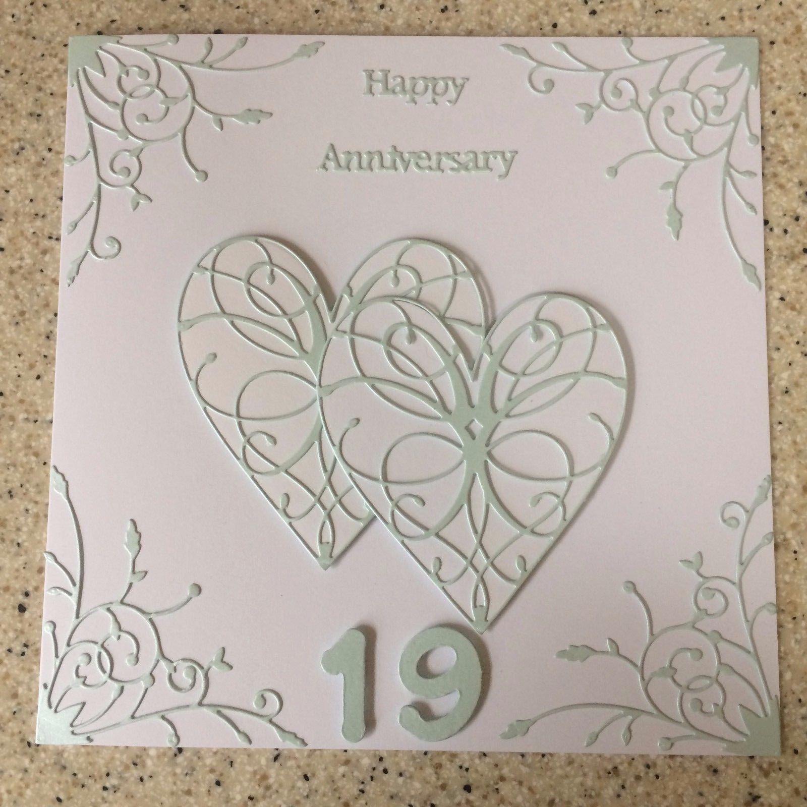 4 5 Gbp Handmade Aquamarine Wedding Anniversary Card Happy 19th Wedding Anniversa Happy Anniversary Cards 19th Wedding Anniversary Wedding Anniversary Cards