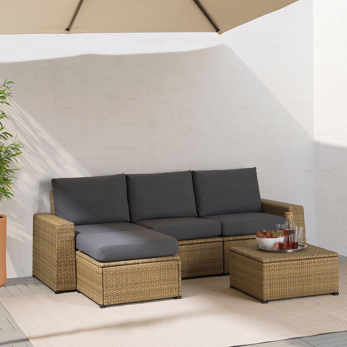 Solleron 3 Seat Modular Sofa Outdoor With Footstool Brown Froson Duvholmen Dark Gray Ikea In 2020 Modular Sofa Sofa Storage Outdoor Stools