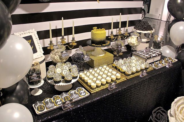 Black White And Gold Dessert Table Click On Post For More