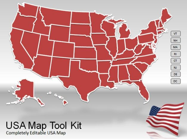 US Map Toolkit with US Map animated Powerpoint template for