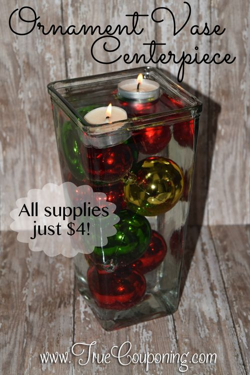 Just 4 And A Few Minutes Gets You A Pretty Christmas Centerpiece