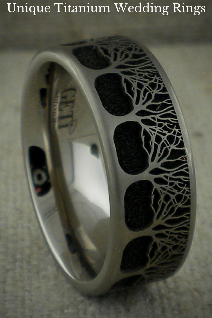 Tree Of Life Wedding Ring In Titanium Unique Titanium Wedding Rings Wedding Rings Oval Wedding Rings Unique Custom Wedding Rings