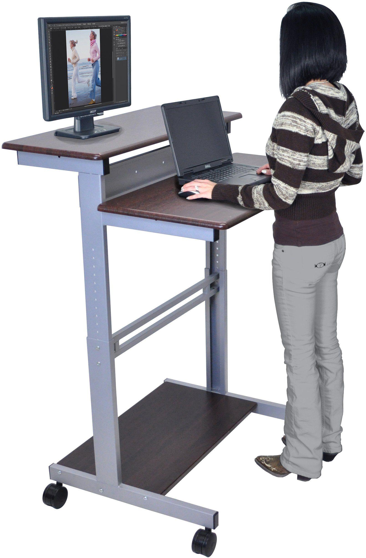 32 Mobile Ergonomic Stand Up Desk Computer Workstation Dark Walnut Shelves With Silver Frame Stand Up Desk Stand Up Workstation Work Station Desk