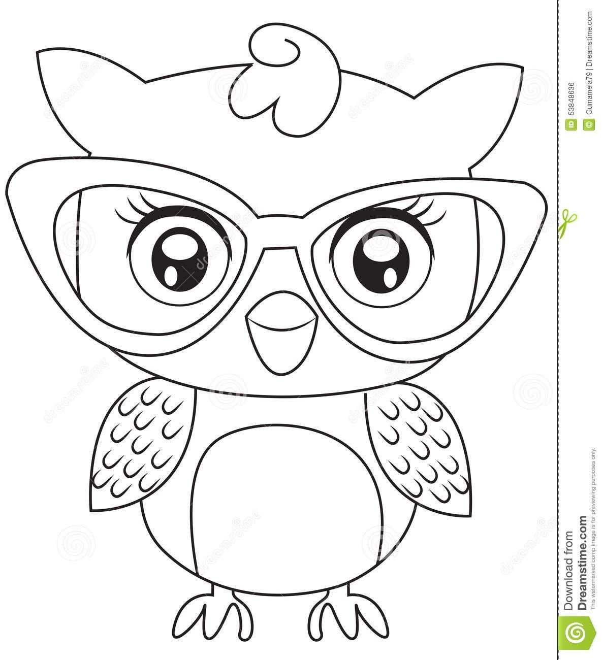 Stock Illustration Owl Eyeglasses Coloring Page Useful As Book Kids Image Owl Coloring Pages Owls Drawing Fox Coloring Page
