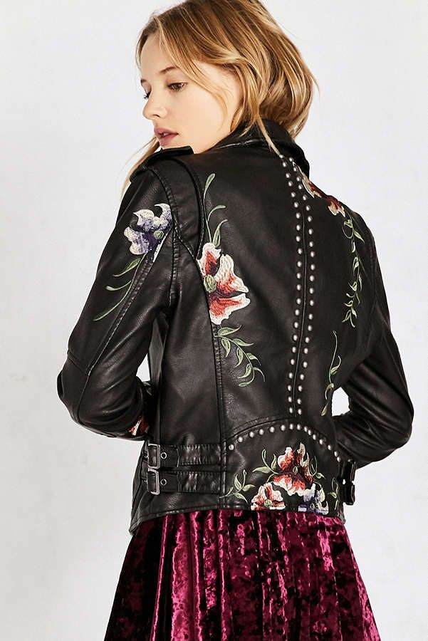 2fef6705f8e7 Unbranded Floral Faux Leather Zip Coats   Jackets for Women. Slide View  1   BLANKNYC As You Wish Floral Embroidered Moto Jacket