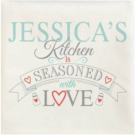 Personalized Seasoned With Love Towels, Blue, Single, White