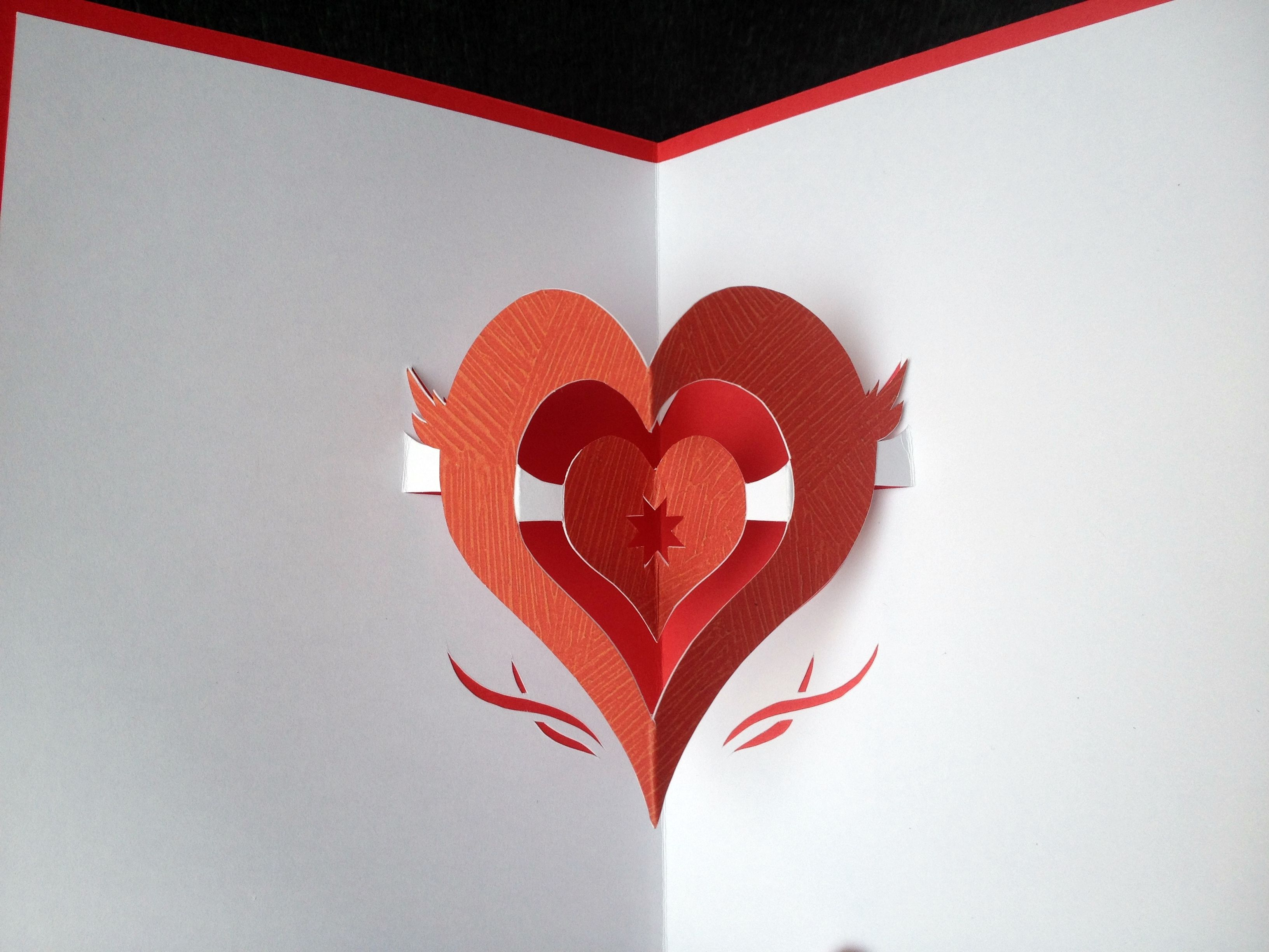 Simple Double Heart Pop Up Card Pop Up Cards Shaped Cards Valentines Cards