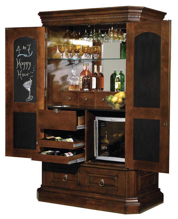 Bar Cabinet... good idea: place cut mirror in back of cabinet to ...