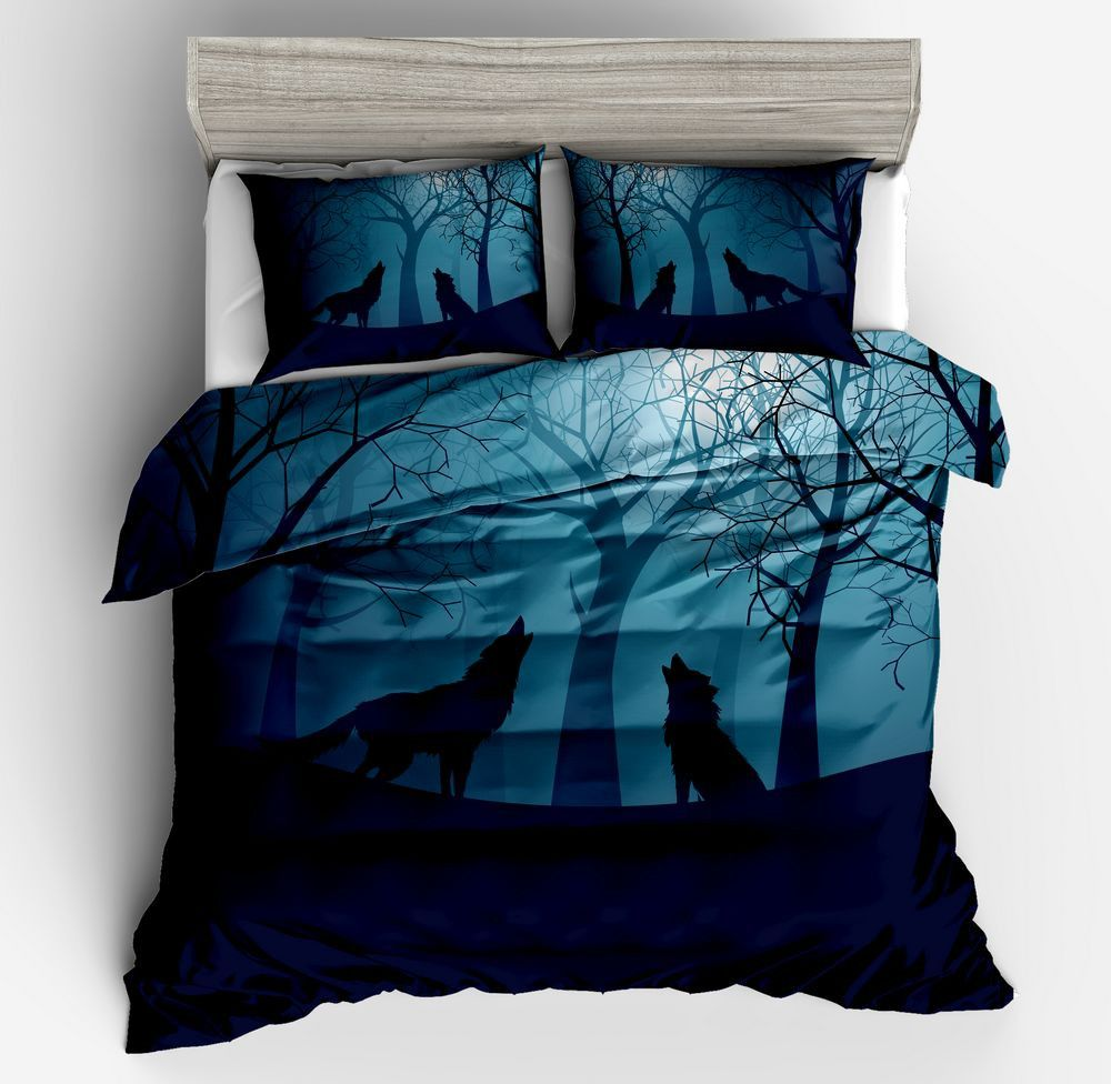 Blue Duvet Cove Sets Twin Size for Kids Moonlight animal