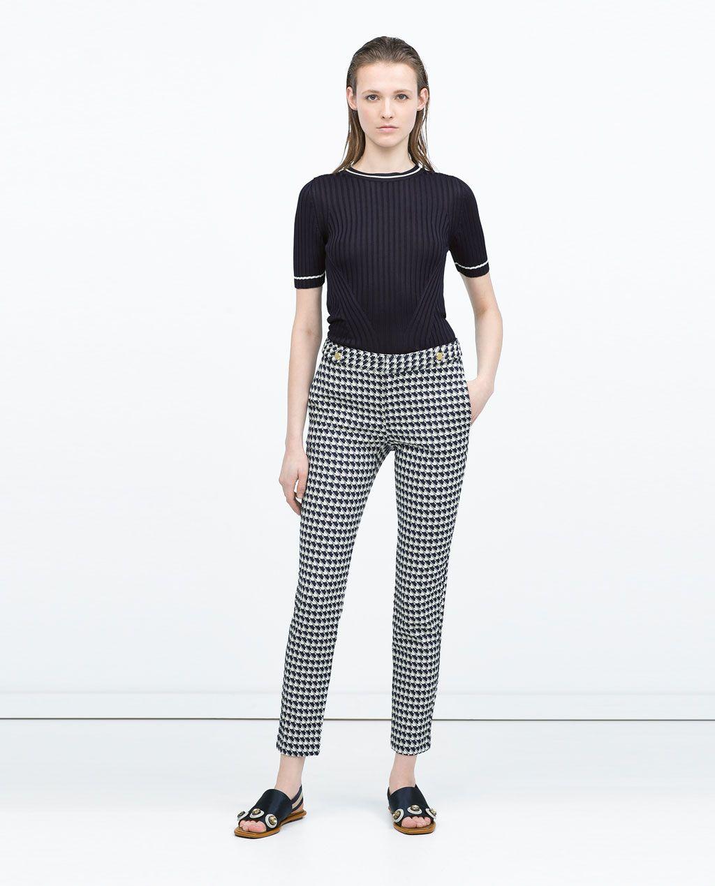 43d51ae1cc ZARA - ÚLTIMA SEMANA - PANTALON BOTONES CINTURA Zara Mujer Pantalones