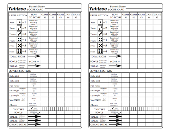 HereS A Printable Set Of Yahtzee Score Cards With A Row For