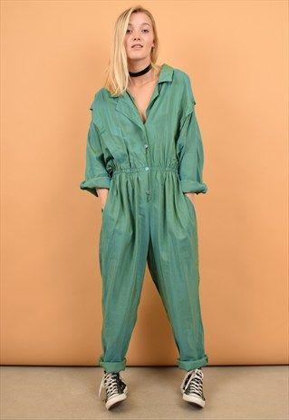 b2169f8afa8 80s+Vintage+Two+Tone+Green+Jumpsuit+-+Boiler+suit