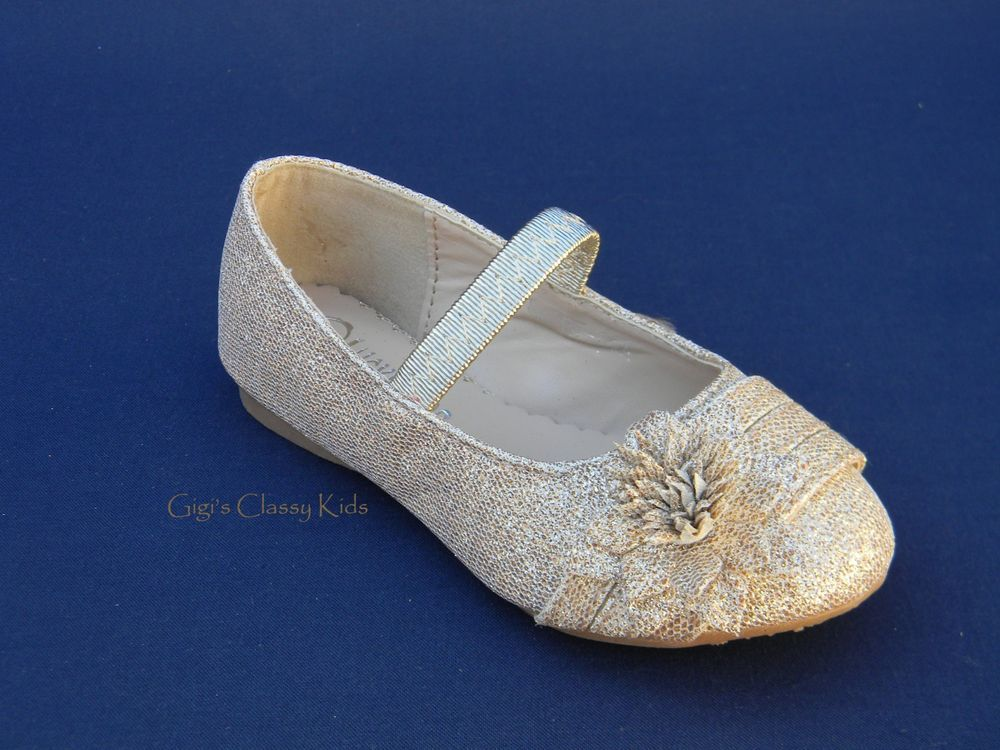 38d9e7e922b0 New Baby Toddler Girls Champagne Gold Glitter Stones Dress Shoes Flats Mary  Jane  Flats