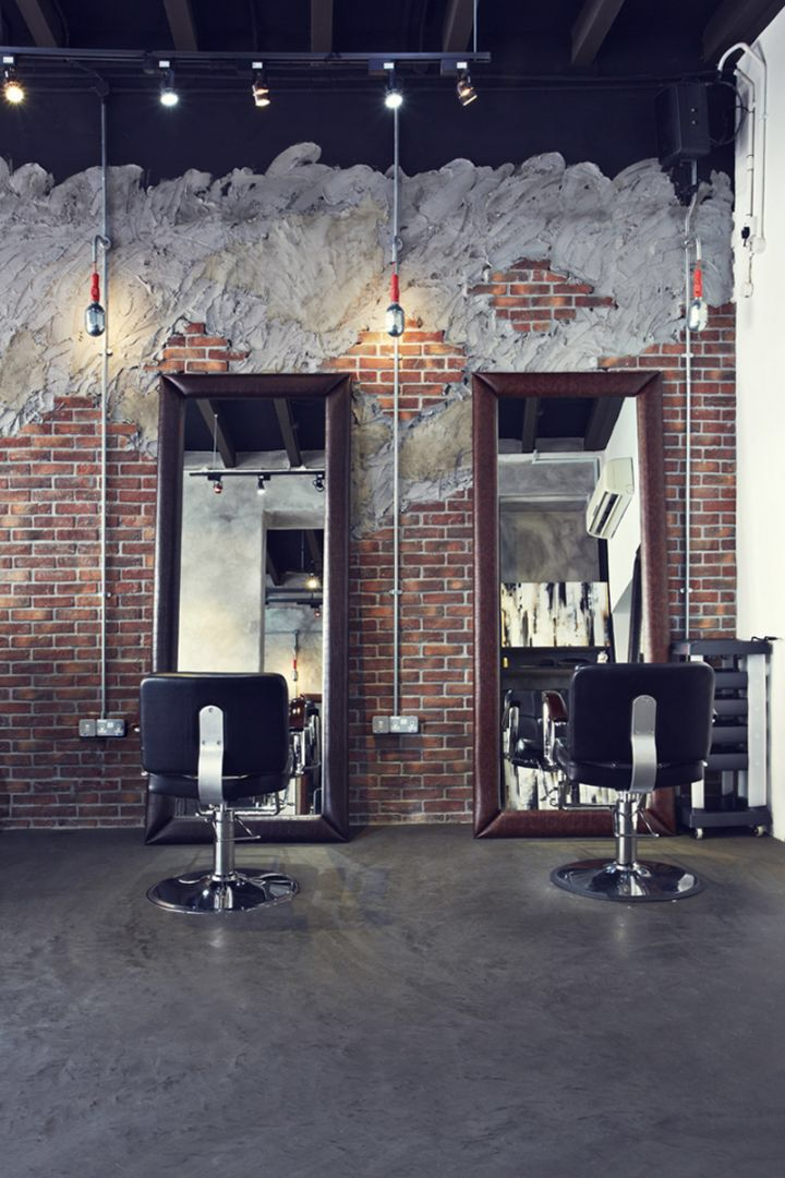 industrial hair salon design chairs mirrors wall design
