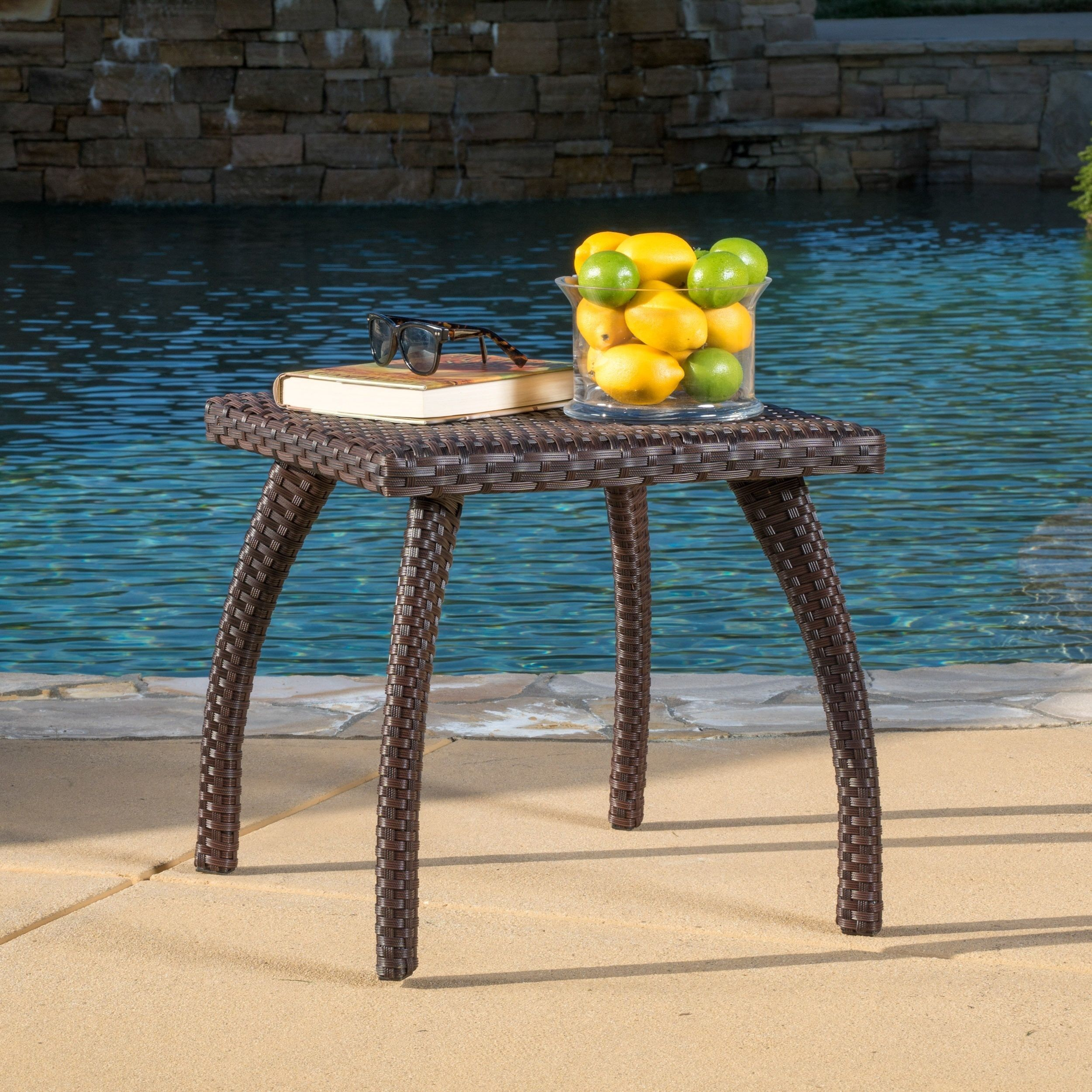 Honolulu Outdoor Wicker Side Table By Christopher Knight Home Brown Patio Furniture