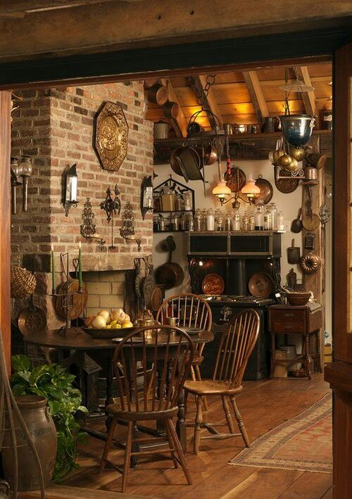 I've been leaning towards more rustic kitchen designs lately, so this could work. Or if I have an outside place to barbecue cheese and potatoes and alchemy. #witchcottage