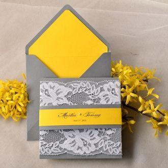 Wedding Invitations Lace Pocket Fold Wedding Invitations Yellow Grey Weddings Lace Wedding Invitations