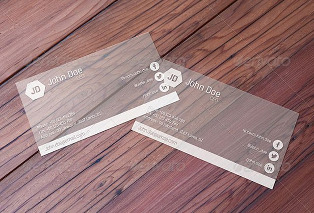 Transparent Business Card Mockup By Pixelions