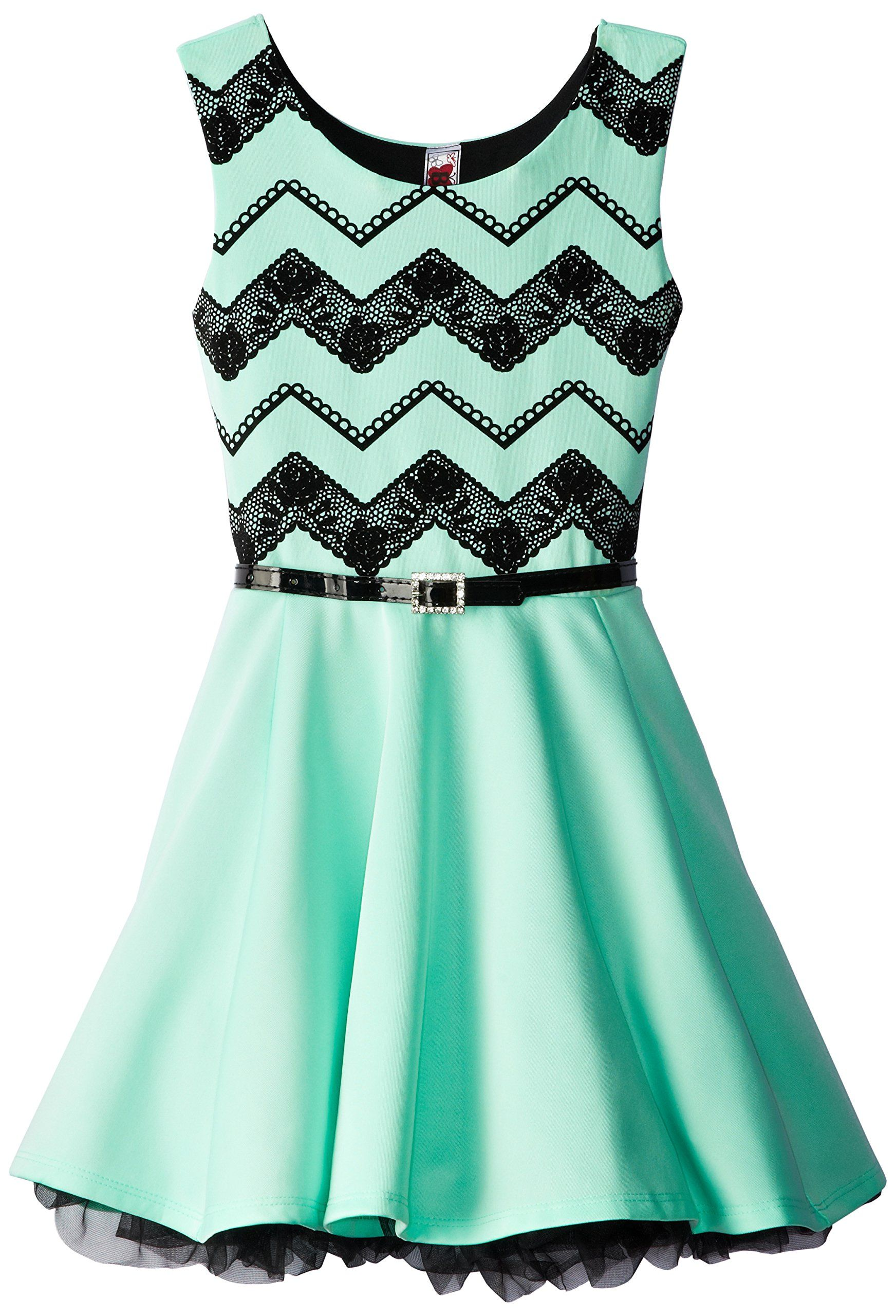 Beautees Big Girls Printed Lace Dress Mint 16 Anna S