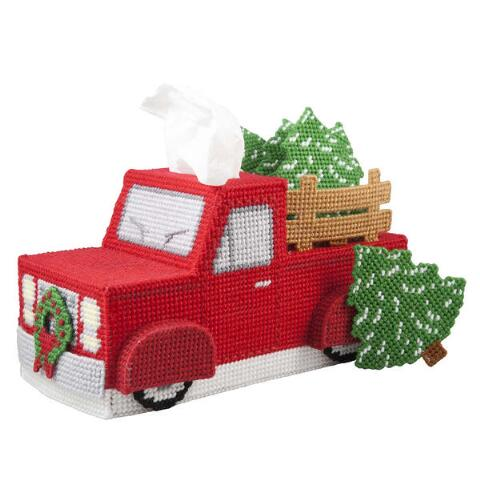 Herrschners Vintage Red Truck Tissue Box Coasters Plastic Canvas Kit Plastic Canvas Crafts Plastic Canvas Christmas Plastic Canvas Ornaments