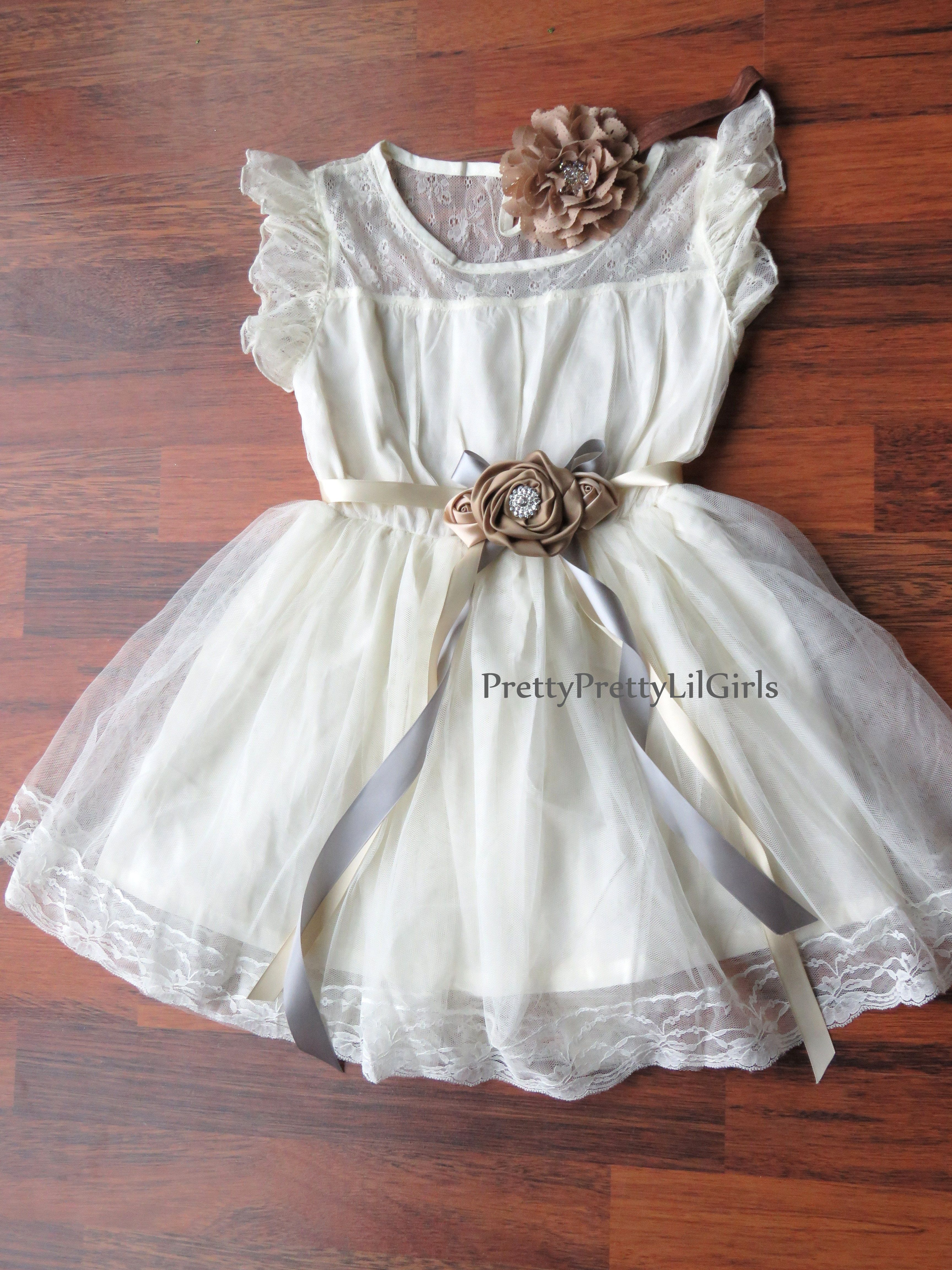 Precious In Ivory Lace Dress. Gorgeous Soft Ivory Girls Dress with Ivory lace Embossed and to make this even cuter than it is, the lace ruffled cap sleeves turns this dress makes this dress very angelic and shabby Chic!