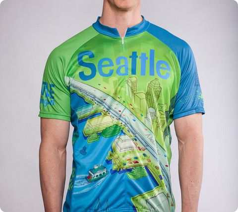 """8346c8263 Seattle Space Needle Cycling Jersey – """"Larry Gets Lost"""" - Men s ..."""