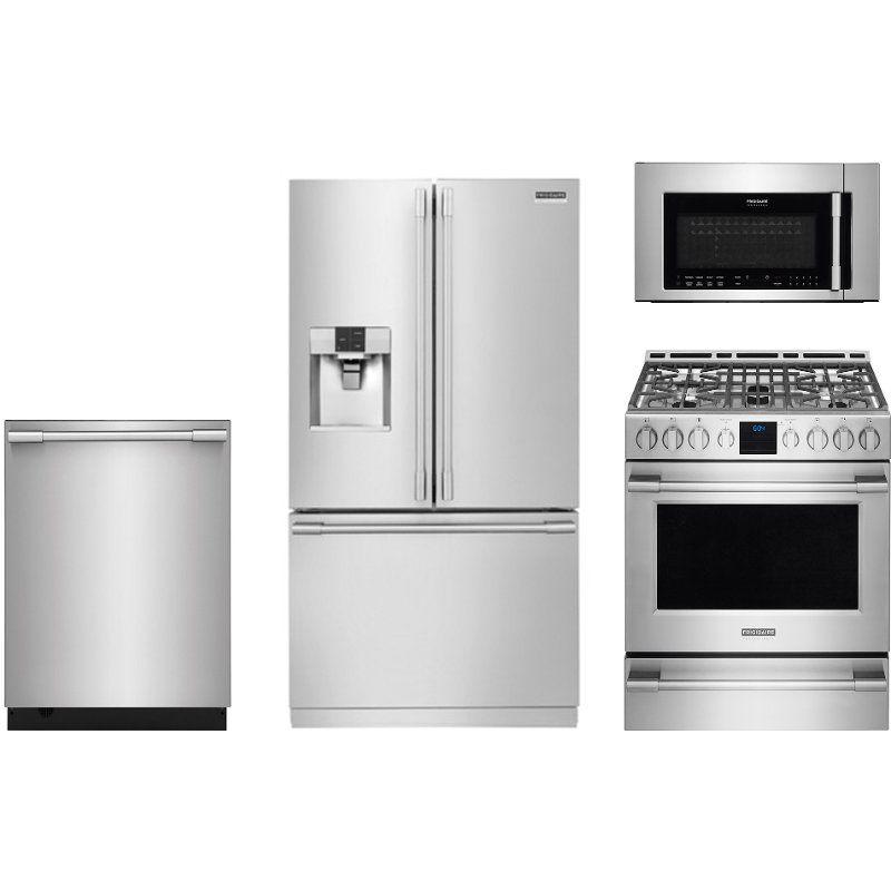 Frigidaire 4 Piece Kitchen Appliance Package With Gas Range Stainless Steel Kitchen Appliance Packages Kitchen Appliances French Door Refrigerator