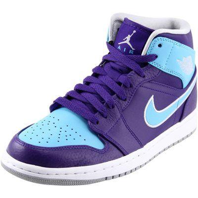 Air Jordan 1 Mid Basketball Shoes Purple Light Blue Cestas