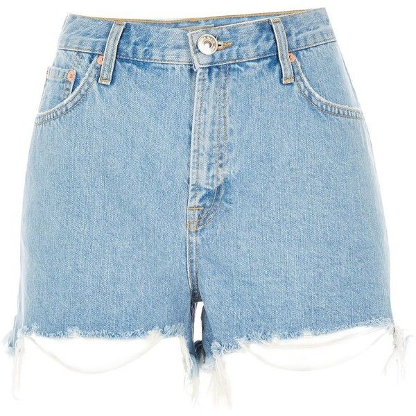River Island Light blue ripped high waisted denim shorts (€16 ...