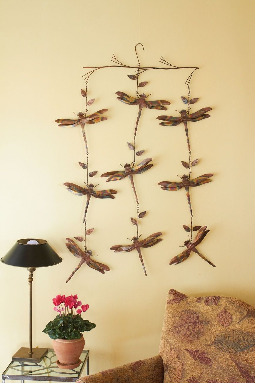 Flamed copper dragonflies hanging mobile inside or outside decor ...