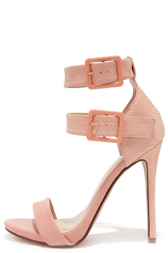 Double Down Salmon Pink Snakeskin Ankle Strap Heels