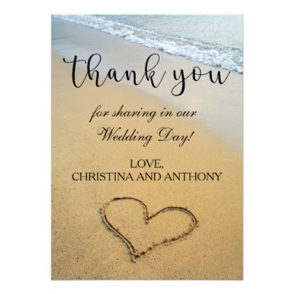 Heart On The Shore Beach Wedding Thank You Note Card  Beach