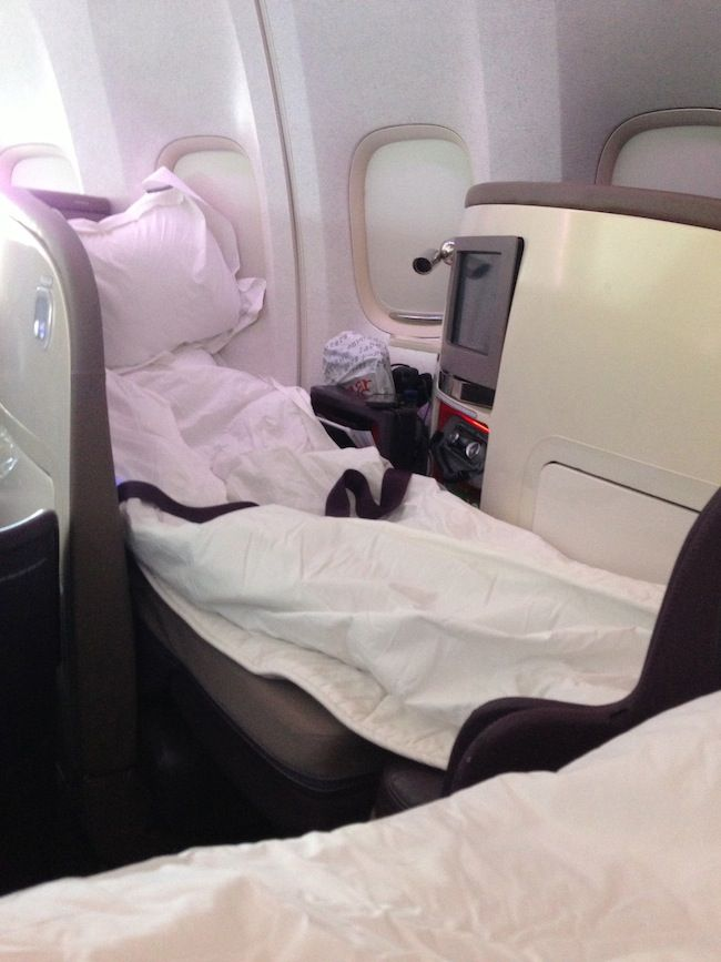Virgin Upper Class Seat Made into flatbed | airlines