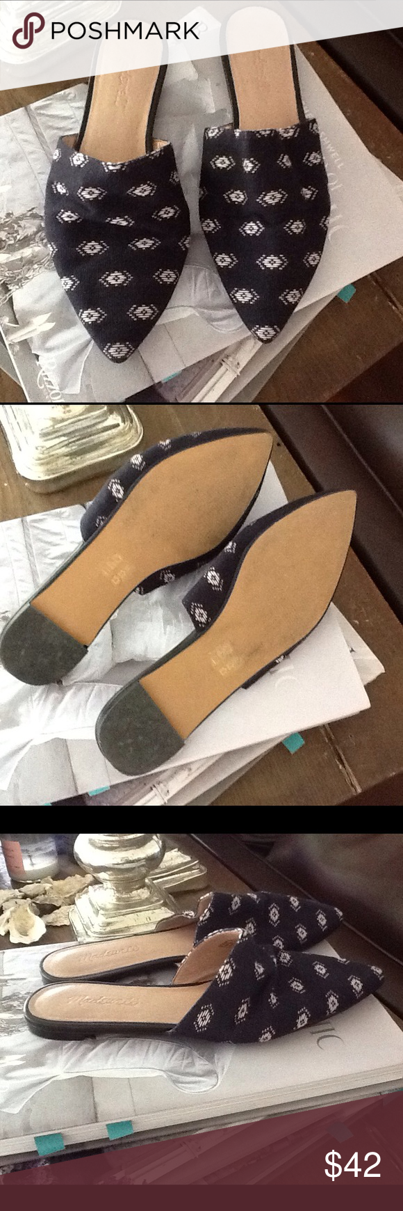Madewell slides Madewell fabric printed slides. Dark navy. Brand new, never been worn. Madewell Shoes