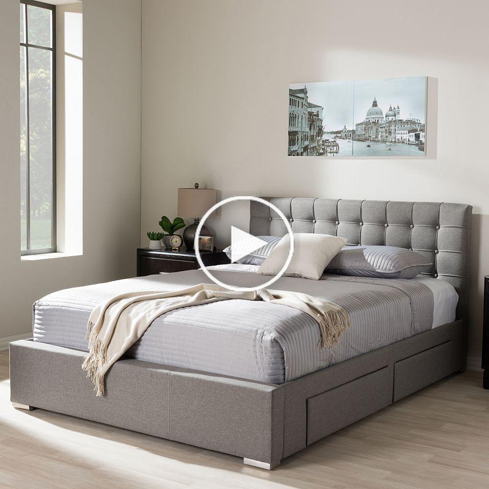 Baxton Studio Rene 4Drawer Storage Queen Platform Bed