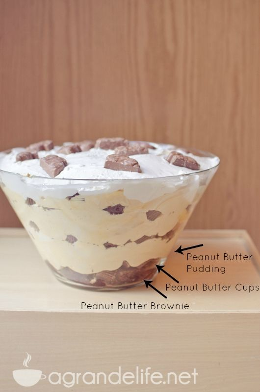 Chocolate Peanut Butter Brownie Trifle The title is a mouthful, but so is the dessert! It is always a huge hit, and best for big gatherings! It is full of chocolate and peanut butter flavor!