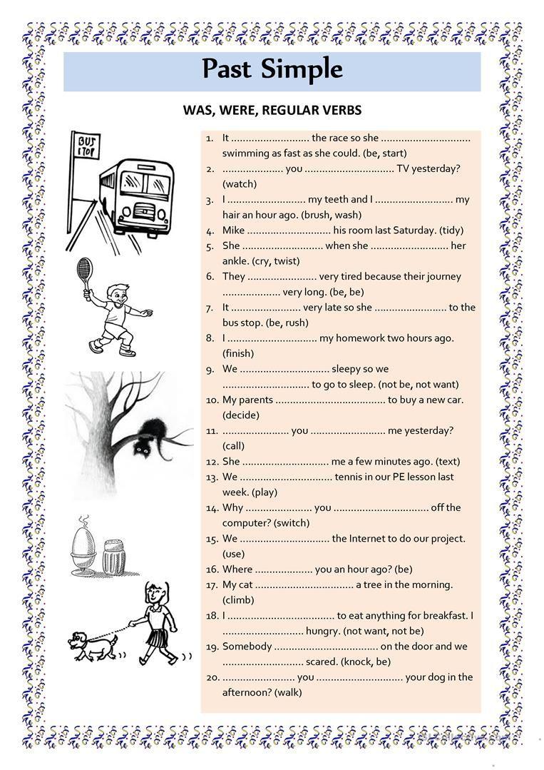 Past Simple was were regular verbs worksheet - Free ESL printable ...